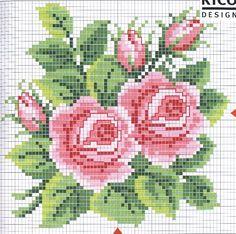 Roses cross stitch pattern.