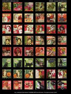 Free Printable Collage Sheets | ARTchix Studio: M231: Inchie Celebration Collage Sheet