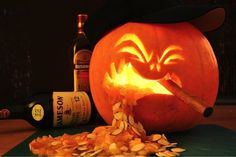 Manly Pumpkin is going to leisurely smoke this cigar while you tell him he has a problem - Pumpkins Who Are Clearly Alcoholics