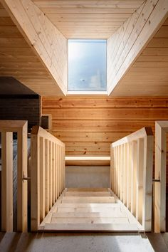 Lonna Sauna Interior Section Roof Stairs Window View Walk Wood Ceiling