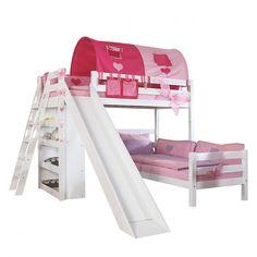 Spielbett Sky - Buche massiv - Weiß lackiert - mit Rutsche, Regal, Tunnel und Tasche   Home24