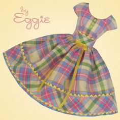 Candy Plaid  - Vintage Barbie Doll Dress Reproduction Repro Barbie Clothes