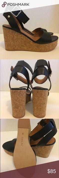 Anthropologie Black Platform Wedges Size 9 NIB Lien.Do by Seychelles. Dulce black leather platform wedges. Ankle strap with buckle. Size 9. 4 inch cork wedge with 1.5 inch platform. New in box. Lien.Do by Seychelles Shoes Wedges