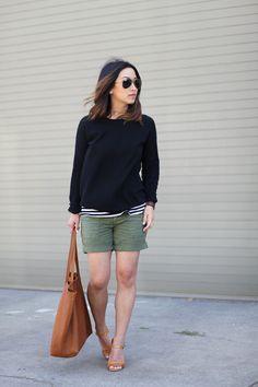 Cargo Shorts + Stripes.