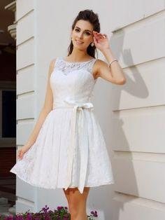 A-Line/Princess Scoop Sash/Ribbon/Belt Sleeveless Short/Mini Lace Cocktail Dresses