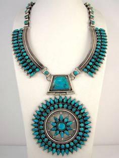 Huge Navajo FRANCIS M. BEGAY Sterling Silver Turquoise Petit Point Necklace   J