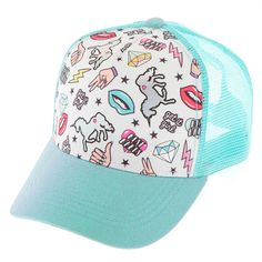 Mint Unicorn Doodles Trucker Hat | Get it Girl! Grab this mint trucker hat covered in various icon images such as lips, a unicorn, phrases, etc. It has a mesh back and is adjustable.