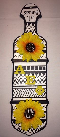 Alpha Epsilon Phi paddle #ΑΕΦ #AlphaEpsilonPhi #AEPHI #sorority #paddle #bigsis #lilsis #Greek #tribalprint #sunflowers #TSM