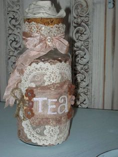 Altered Art Bottles | Mixed Media Altered art Romantic Vintage Bottle Tea by Fannypippin,