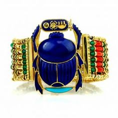 Antique Egyptian Scarab 18K  Lapis Coral Turquoise Wide Gold Bracelet  #consignment #antiquejewelry #bracelet #Egyptian