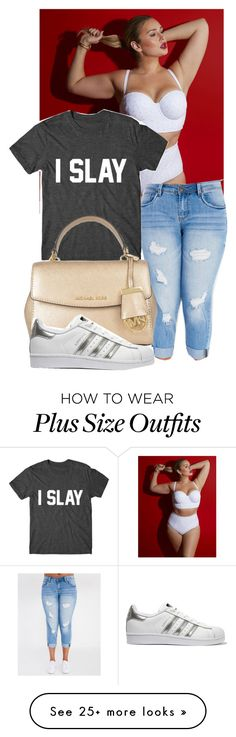 """""""Plus size girls do it better"""" by fashionkillashe on Polyvore featuring Lela Rose, MICHAEL Michael Kors and adidas Originals"""