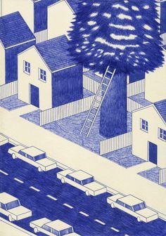 Lonesome town, 21 x 29,7cm, encre sur papier, Kevin Lucbert, 2013.