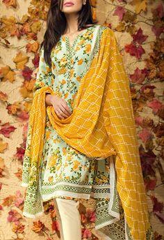 Buy Sea Green Cotton Dress by Khaadi 2015.
