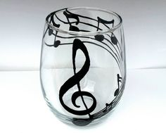 Music and wine, musical notes stemless wine glass Check out this item in my Etsy shop https://www.etsy.com/listing/212567012/custom-hand-painted-music-notes-stemless