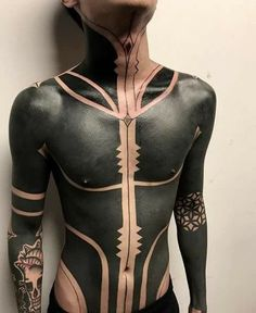 A blackout tattoo is a solid black tattoo style that covers a good part of the skin Hot Tattoos, Black Tattoos, Body Art Tattoos, Tribal Tattoos, Sleeve Tattoos, Tattoos For Guys, Tatoos, Full Body Tattoos, Small Tattoos