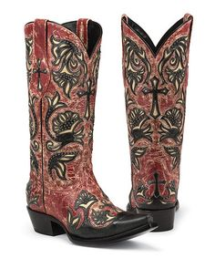 Look what I found on #zulily! Red Trinity Snip Toe Leather Cowboy Boot by Black Star #zulilyfinds