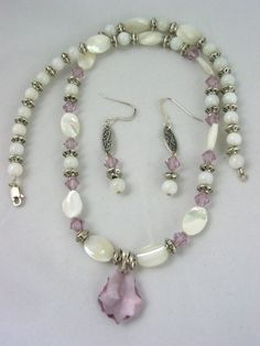 Mother of Pearl and Purple Swarovski by JazzitUpwithDesigns