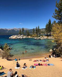 Lake Tahoe Camping, Lake Tahoe Resorts, Lake Tahoe Vacation, Van Camping, Ski Resorts, Sand Harbor Lake Tahoe, Harbor Beach, South Lake Tahoe, Best Family Beaches