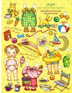 Uncut Paper Doll Summer Fun with Lilah by Mary Engelbreit