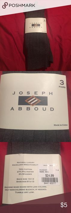 Josheph Abboud gray dress socks new Grey color. Package says 3 pairs of socks but only two in package. Joseph Abboud Underwear & Socks Dress Socks