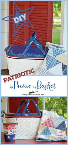 Painted Patriotic Picnic Basket - Cottage at the Crossroads Vintage High Tea, Vintage Picnic, Diy Projects To Try, Craft Projects, Baby Food Containers, Picnic Quilt, Patriotic Decorations, Patriotic Party, Fourth Of July