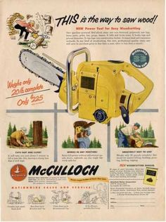 McCulloch Chainsaw - only 20 pounds. Just don't try cutting limbs over your head like in the ad :)