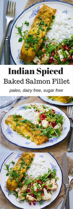 Indian Spiced Baked Salmon Fillet | nourisheveryday.com | A healthy meal idea that is SO quick and easy to prepare and packed full of flavour. Dairy free, sugar free and all natural ingredients!