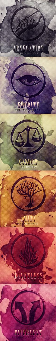 Divergent Factions of The Divergent Series by Veronica Roth. Abnegation. Erudite. Candor. Amity. Dauntless. Divergent.