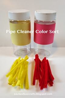 Super simple pipe cleaner color sort.