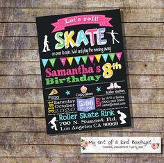 Roller skating birthday invitation roller skates party invite rollerskate chalkboard pink girl digital printable invitation 13914 by myooakboutique on Etsy