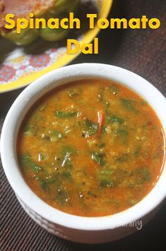 Spinach Soup Spinach Tomato Dal Recipe - Palakoora Tomato Pappu Recipe - Healthy spinach tomato dal taste so delicious with hot rice. This tomato dal is tangy and so flavourful. The taste goes well with rice or roti. Lentil Recipes, Veg Recipes, Curry Recipes, Indian Food Recipes, Cooking Recipes, Healthy Recipes, Ethnic Recipes, Spicy Recipes, Cooking Tips