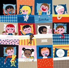 Kids in beds Art Illustration Vintage, Illustration Design Graphique, Illustrations And Posters, Children's Book Illustration, Character Illustration, Drawing For Kids, Art For Kids, Animated Cartoons, Sketchbook Inspiration