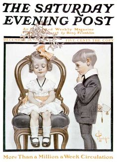 "J. C. Leyendecker - The Saturday Evening Post Magazine cover (December 26, 1908) ""Girl Under Mistletoe"""