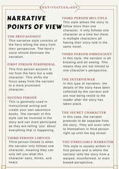 For a more in-depth look at the different narrative points of view, click the link provided. Book Writer, Writing A Book, Writing Tips, Writing Prompts, Writers Help, Writing Boards, Story Structure, Writers Notebook, Teaching Reading