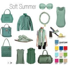 Greenery for Soft Summer by christinems on Polyvore featuring Armani Collezioni, Patagonia, Marni, Chloé, Coach, Christian Dior, Balenciaga, Mark Cross, Sydney Evan and Valentino