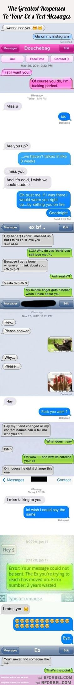 11 Of The Greatest Responses To Your Ex's Text Messages… | B for Bel