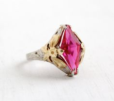 I think this is so pretty. ALady Antique 10k White and Yellow Gold Pink Ruby Ring by MaejeanVintage, $325.00