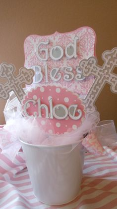 Baptismal centerpiece God Bless by ASweetCelebration on Etsy, $42.50
