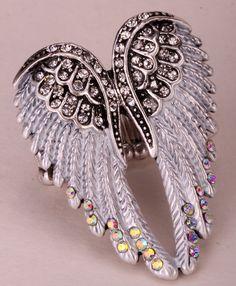 천사 날개 스트레치 링 여성 바이커 블링 보석 골동품 골드 & 실버 도금 W 크리스탈 도매 dropshipping를