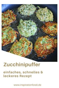 courgette cakes - Delicious zucchini pancakes simple & quick recipe Zucchini Buffer Vegetarian for children & adults - Vegetarian Crockpot Recipes, Healthy Recipes, Zucchini Pancakes, Zucchini Puffer, Slow Cooker Chicken, Antipasto, Dinner Recipes, Clean Eating, Low Carb