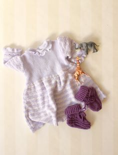 Vintage Baby Girl Dress in Purple Knit 0-6 months, French Mid Century Little…