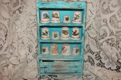 Vintage Miniature Shabby Chic Turquoise Painted by PatsTrinkets