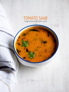 tomato saar recipe with step by step pics. tomato saar is basically a tangy soupy curry like preparation. you can also call it as tomato curry. i have been making this particular tomato saar recipe for many Indian Veg Curry Recipe, Vegetable Korma Recipe, Paneer Curry Recipes, Goan Recipes, Chicken Korma Recipe, Vegetable Curry, Indian Food Recipes, Vegetarian Recipes, Cooking Recipes