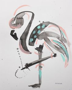 Abstract art by Andreina Bates, flamingo painting, sumi-e, ink on paper