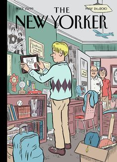 """The current issue of The New Yorker features a really great """"Boomerang Generation"""" cover illustration by Daniel Clowes. via Drawn & Quarterly The New Yorker, New Yorker Covers, Capas New Yorker, Daniel Clowes, Ligne Claire, New Yorker Cartoons, Magazine Art, Magazine Covers, Arte Pop"""
