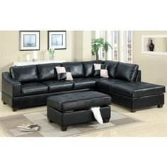 Black Bonded Leather Modern Sectional Sofa w/Optional Ottoman
