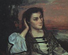 'Porträt von Gabrielle Borreau', öl von Gustave Courbet (1819-1877, France)