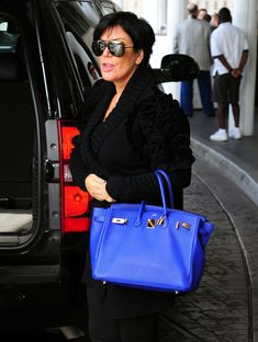 Kris Jenner with her Iris 35cm Birkin, Palladium Hardware