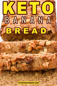 Banana Bread Low Carb, Sugar Free Banana Bread, Banana Walnut Bread, Banana Nut, Low Carb Bread, Banana Bread Recipes, Keto Bread, Nut Recipes, Low Carb Recipes