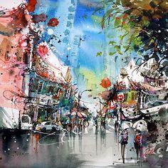 """Circular Road,  Singapore"" 16jun2015 35x35cm Mixed media  #tilenti #tilen #theartcommunity #watercolor #watercolour  #watercolours #watercolors #painting #paintings #splattered #drip #dripped  #artfido #art #_tebo_ #artists_magazine #spotlightonartists #arts_help  #worldoftalents  #art_spy #art4youu #shaded_canvas #art_spotlight #aartistic_dreamers #art_worldly #worldoftartists #singapore"